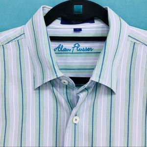 Alan Flusser Button Shirt Blue Green Stripes